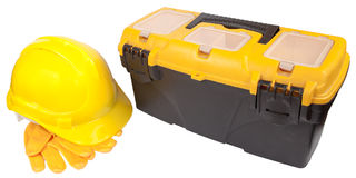 Helm en plastic toolbox Royalty-vrije Stock Foto's