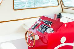 The helm of a luxury yacht Stock Images