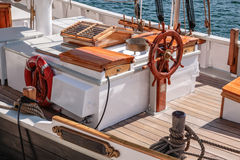 Helm of an old sailing boat Stock Photo