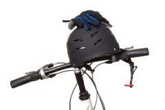 Helm op stuur Stock Foto