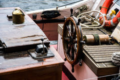The helm of a sailing ship. Stock Images