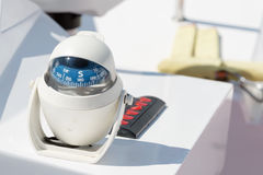 Helm station on sailing boat Royalty Free Stock Images