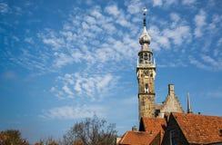 Helm von Veere-Gericht in der historischen Stadt der Weinlese in den Niederlanden Stockbild