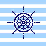 Helm Wheel. Illustration of ship wheel icon on a dark blue and white stripped background Royalty Free Illustration
