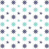 Helm wheels and starfish pattern. Flat illustration design of helm wheels and starfish pattern on white background Royalty Free Illustration