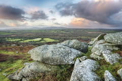 Helman Tor. Sunrise at Helman Tor a natural granite rock formation near Bodmin in Cornwall Royalty Free Stock Photos