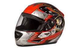 Helmet. Beautiful red helmet with drawing for the motorcyclist Royalty Free Stock Images