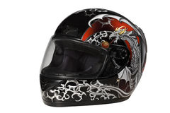 Helmet. Beautiful black helmet with drawing for the motorcyclist Stock Photo