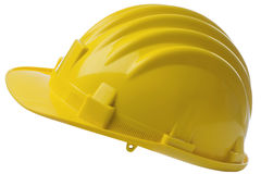 Helmet. A yellow protection helmet isolated on white with clipping path Royalty Free Stock Image