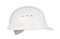 Helmet. Side view of a white construction work helmet Royalty Free Stock Photography