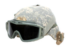 Helmet. A military digital camouflage helmet with goggles and light isolated on a white background Royalty Free Stock Photos