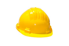 Helmet. Yellow construction hardhat isolated on white Royalty Free Stock Images