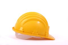 Helmet. Isolated yellow protective helmet for work Royalty Free Stock Photography