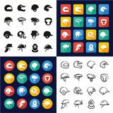 Helmet All in One Icons Black & White Color Flat Design Freehand Set. This image is a vector illustration and can be scaled to any size without loss of Royalty Free Stock Photos