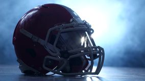 Helmet american football players in the smoke background. Clous up stock video footage