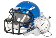 Helmet for American football with whistle and stopwatch, 3D rendering. Isolated on white background vector illustration