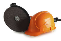 Helmet and angle grinders Stock Image