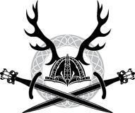 Helmet with antlers and Viking swords Royalty Free Stock Photos