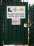 Helmet area with proper foot wear Stock Image