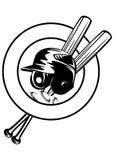 Helmet, balls and crossed bats Stock Image