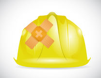 Helmet band aid fix solution concept Stock Photography
