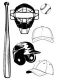 Helmet,  bat, cap, ball, mask set Stock Image