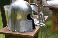 Helmet before the battle. Helmet of an armament waiting for the battle royalty free stock photo