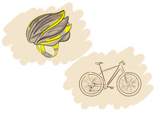 Helmet and bicycle Stock Images