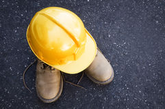 Helmet and boots Royalty Free Stock Image
