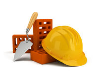 Helmet with bricks and trowel. 3d image. White background Royalty Free Stock Photo
