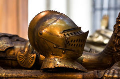 The Helmet. The bronze helmet on the Valois duke of Bourgundys  Charles the Bold tomb in Our Lady church, Bruges Stock Photo