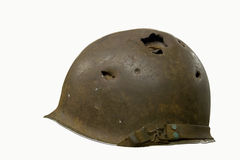 Helmet with Bullet Holes Stock Image