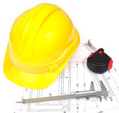 Helmet, Caliper and Technical Drawings Royalty Free Stock Photography