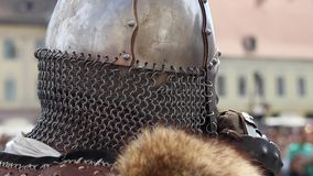 Helmet with Chain Mail stock video footage