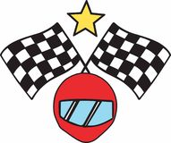 Helmet & Checkered Flags Stock Images