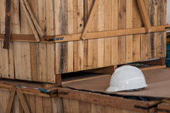 Helmet. CMA Logistics helmet on the shelf Royalty Free Stock Photo