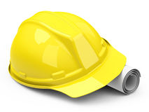 Helmet and construction drawing Stock Photos