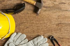 Helmet and construction tools stock images