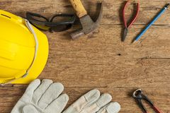 Helmet and construction tools stock photography