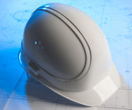 Helmet for construction worker. At studio stock photo