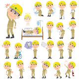 Helmet construction worker man About the sickness Stock Image