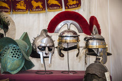 Helmet Display at the celebrations for the Birthday of the city of Rome Royalty Free Stock Image