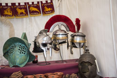 Helmet Display at the celebrations for the Birthday of the city of Rome Royalty Free Stock Photos