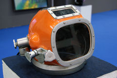 Helmet diving suit. An orange helmet at the the The Big Blu - 7TH EDITION FOR THE BOAT AND SEA EXPO OF ROME  in Rome, Italy for the dates of February 20, 2013 Stock Photos
