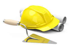 Helmet, drawings and brick trowel Royalty Free Stock Images