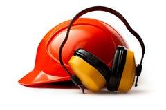 Helmet with earphones Stock Photo