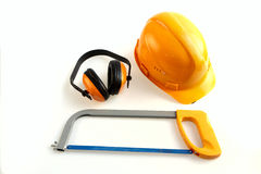 Helmet earphones hacksaw Stock Photo