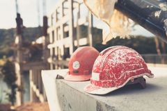 Helmet Engineering Construction worker equipment on background royalty free stock photo
