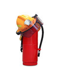 Helmet and extinguisher Royalty Free Stock Image