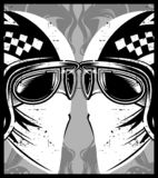 Helmet with eyeglasses cafe racer stock illustration